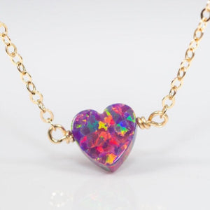 Purple opal heart necklace on gold chain