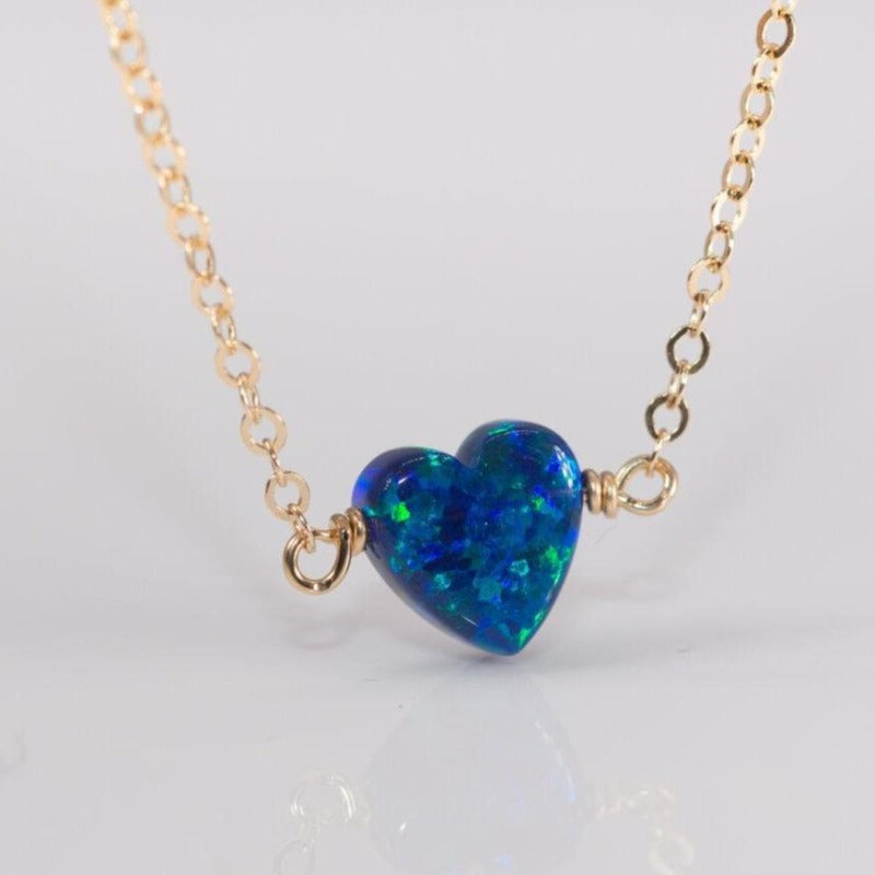 Confetti Opal Heart Necklace