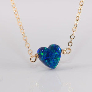 Blue heart opal on gold dainty chain