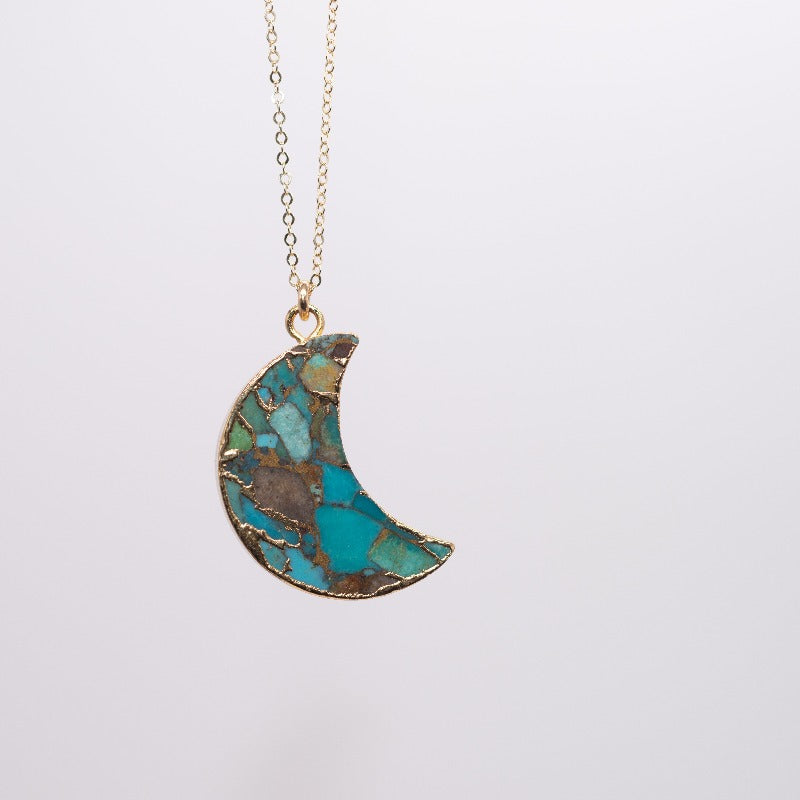 Large Turquoise Mosaic Moon Necklace