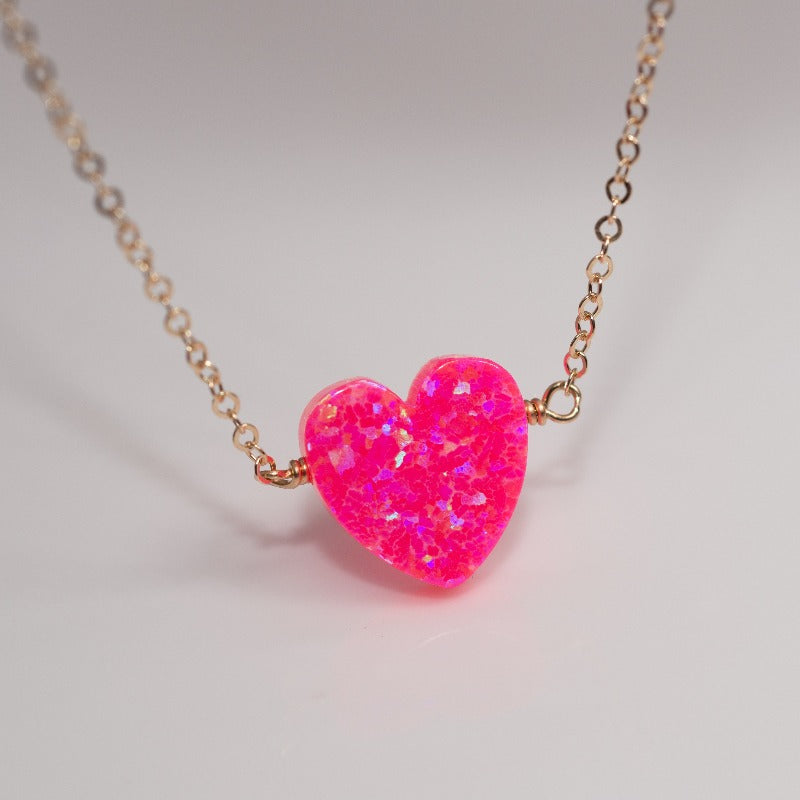 Pink tiny heart necklace