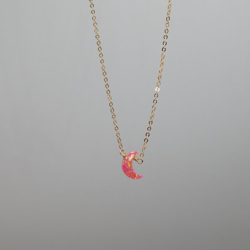 Mini pink crescent moon necklace in opal and gold