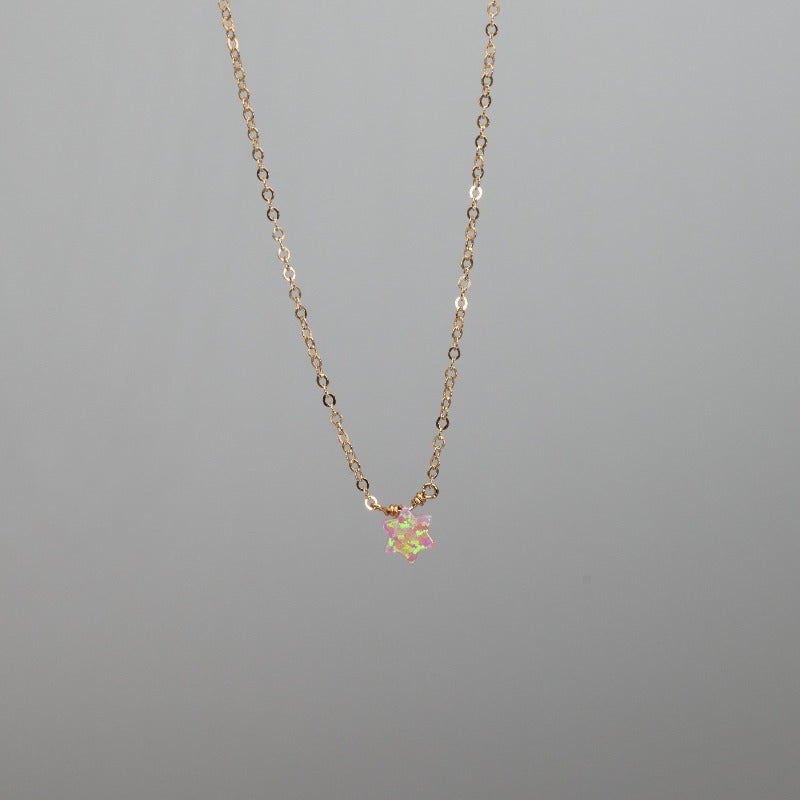Dainty pink Star of David charm necklace