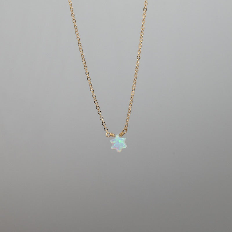 White opal Star of David necklace with gold chain