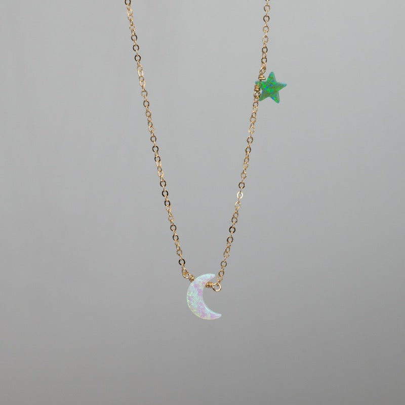White heart moon with green opal star charm necklace