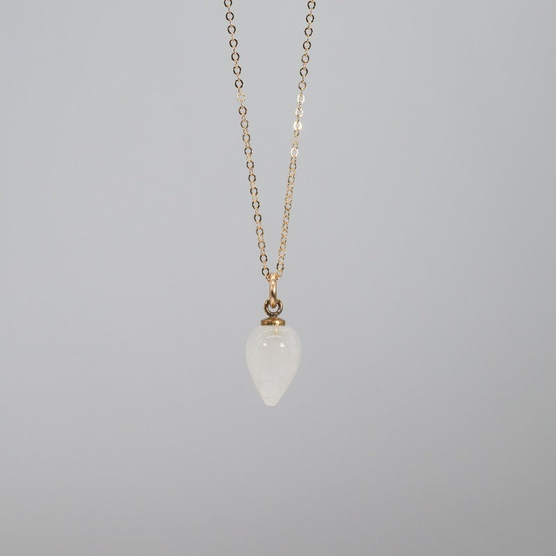 Rain drop shaped necklace in Moonstone on a delicate gold chain