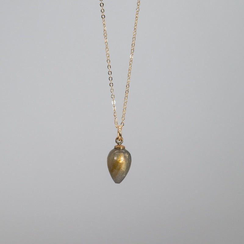 Labradorite and gold rain droplet shaped pendant neckalce