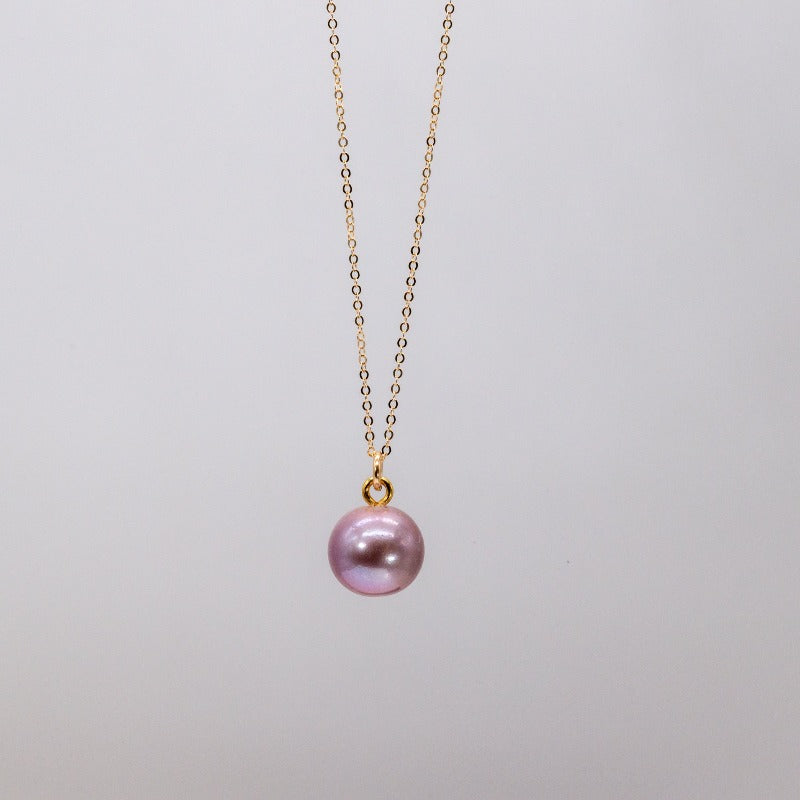 Pink fresh water pearl charm on gold chain