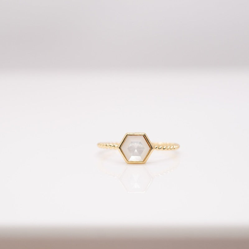 Gold Hexagon Twist Ring