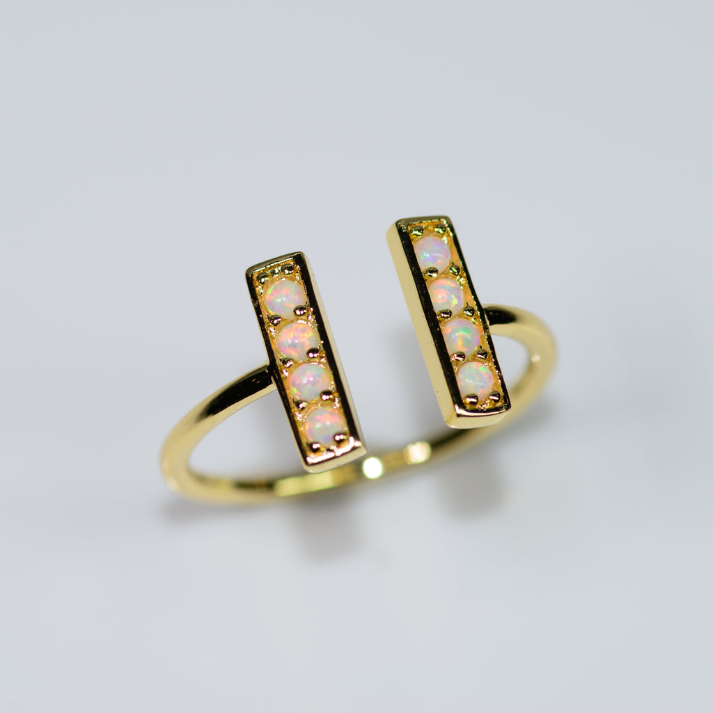 Pave Bar Opal Ring