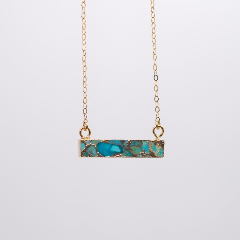 Turquoise Mosaic Bar Necklace