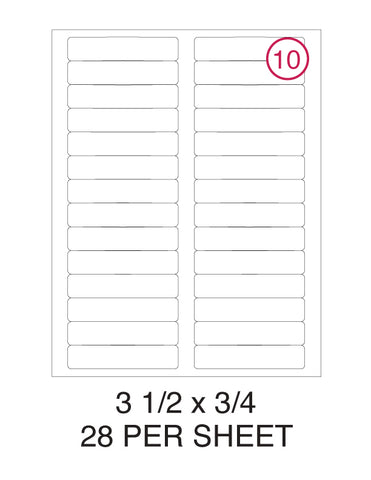 "3 1/2"" x 3/4"" Label Pack - 100 Sheets (2,800 Labels)"
