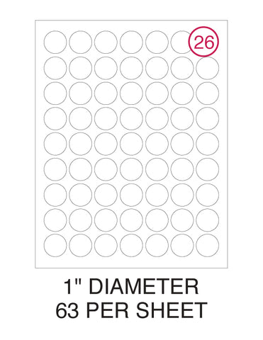 "1"" Diameter Circle Label Pack - 100 Sheets (6,300 Labels)"