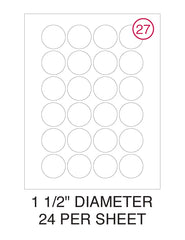 "1 1/2"" Diameter Circle Label Pack - 100 Sheets (2,400 Labels)"