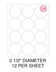 "2 1/2"" Diameter Circle Label Pack - 100 Sheets (1,200 Labels)"