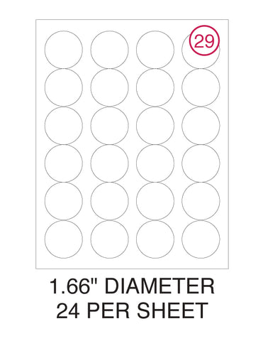 "1 2/3"" Diameter Circle Label Pack - 100 Sheets (2,400 Labels)"