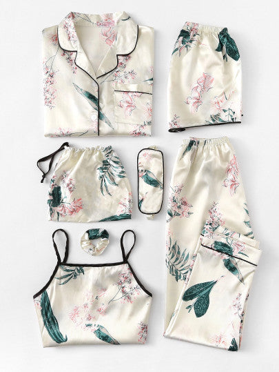 Floral Print Cami Pajama Set With Shirt