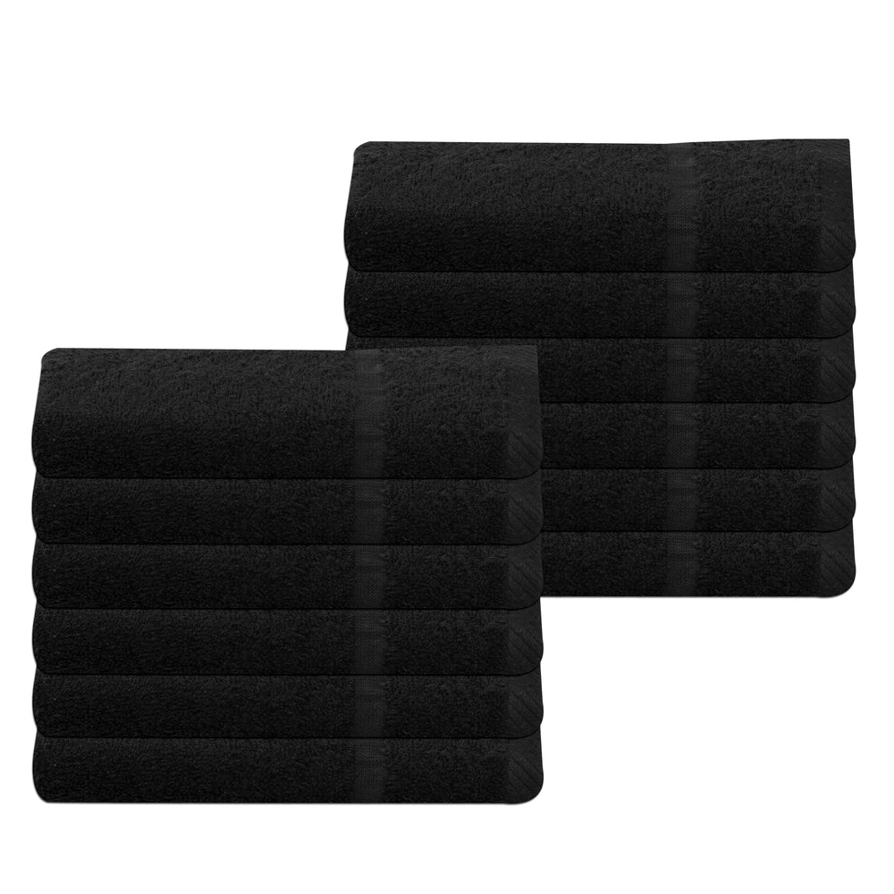 Black Hand Towels Bulk Buy 100% Cotton 400 gsm Packs of 12, 48 and 72
