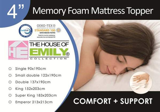 King Size Memory Foam Mattress Topper 4 Inch with Cover