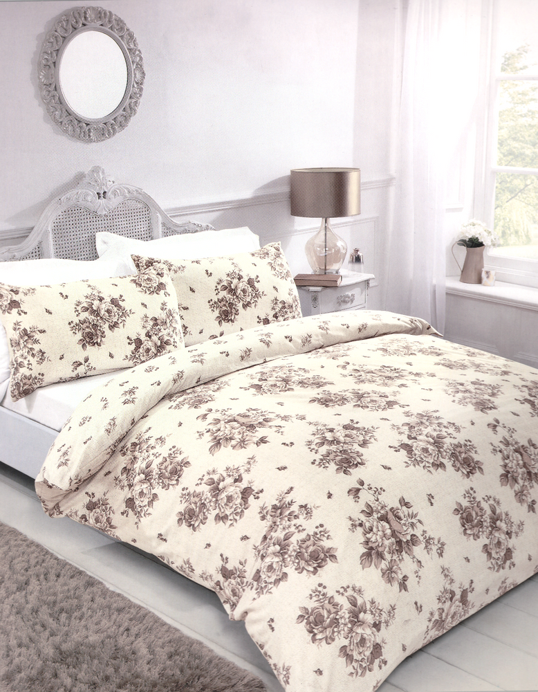 Printed Duvet Cover Sets Single, Double & King Beige Cream Floral Design
