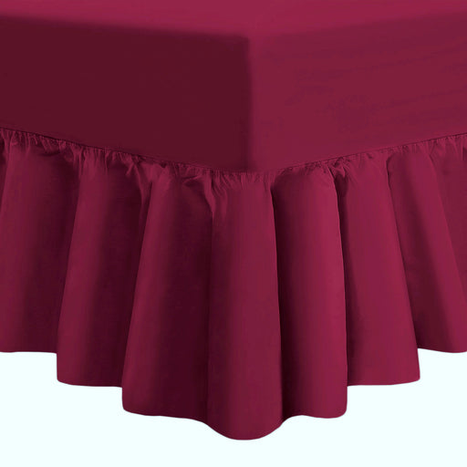 "25"" Extra Deep Fitted Valance Sheet Frilled Single - Burgundy - 200 TC"