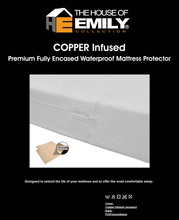 Anti Bacterial & Anti Viral Copper Infused Mattress Protector Waterproof Fully Enclosed Zip Closure