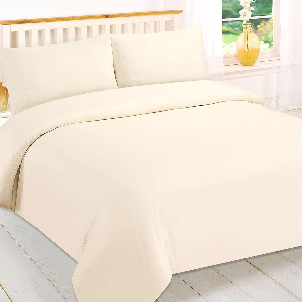 Cream Double Quilt Cover Set Polycotton