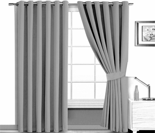 "Pair of Blackout Eyelet Curtains Grey 66"" x 90"" Two Tie Backs Included"