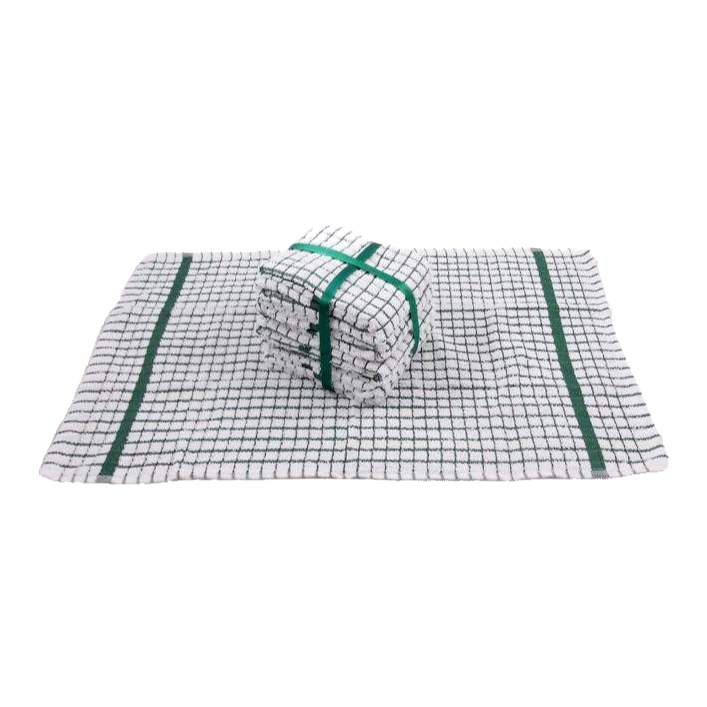 Green Tea Towels 100% Cotton Mini Check - Pack of 5