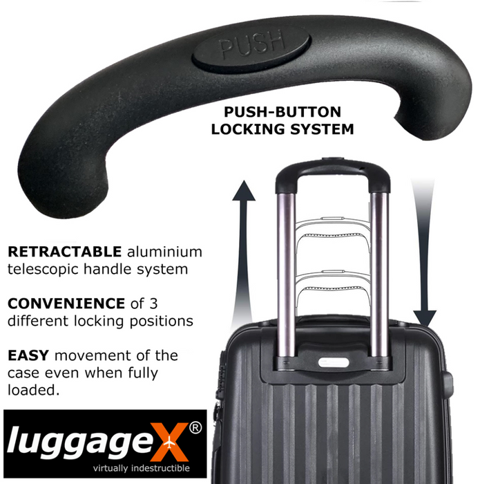 Hard Black Suitcase Set of 3 Virtually Indestructible LuggageX 4 Double Spinner Wheels