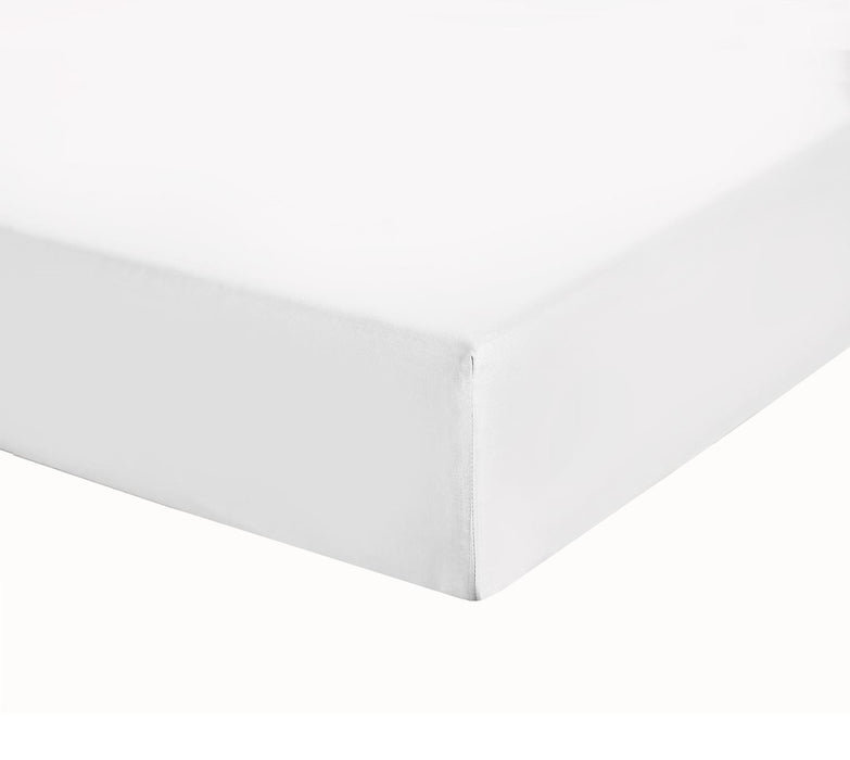 "Fully Elasticated Fitted Sheet Extra Deep Single White 12"" Box 200Tc"