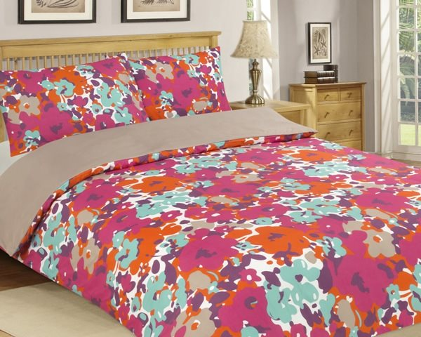 Multicoloured Double Size Duvet Cover Set Microfibre Floral Design