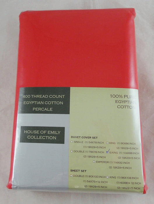Red Super King Duvet Cover Set Egyptian Cotton 400 Tc