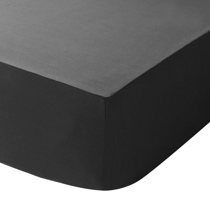 Black Egyptian Cotton Percale Fitted Sheet Super King 400 TC