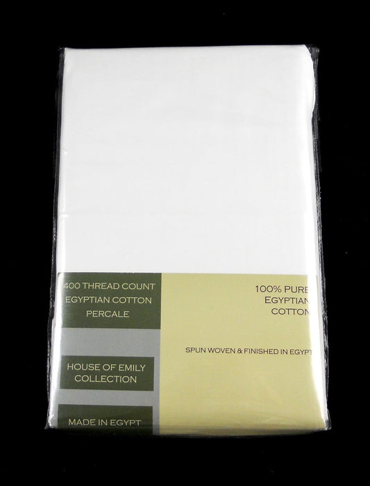 White Egyptian Cotton Percale Fully Elasticated Fitted Sheet Double 400 TC
