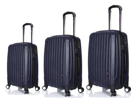 "Hard Luggage Set Navy Blue 28"" + 24"" + 21"" IATA Approved Cabin Case"