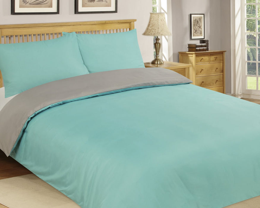 Microfibre Duvet Cover Set King Size Grey & Aqua Reversible