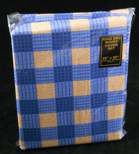 Checkerboard Check Duvet Cover Set King Size Orange & Blue