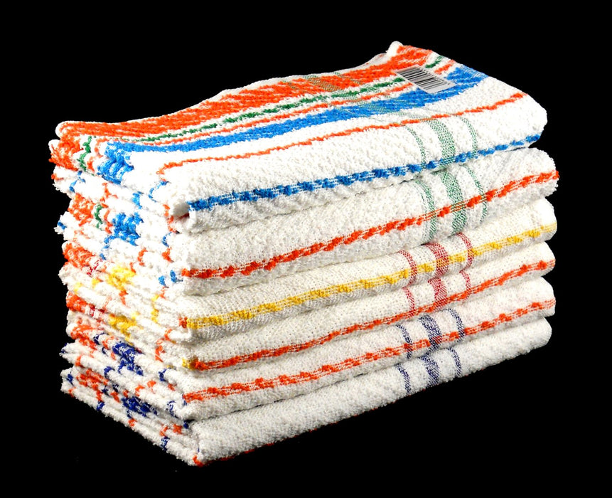 Cheap Bath Towels 100% Cotton Multicoloured Stripe Budget Quality 360 gsm Pack of 6