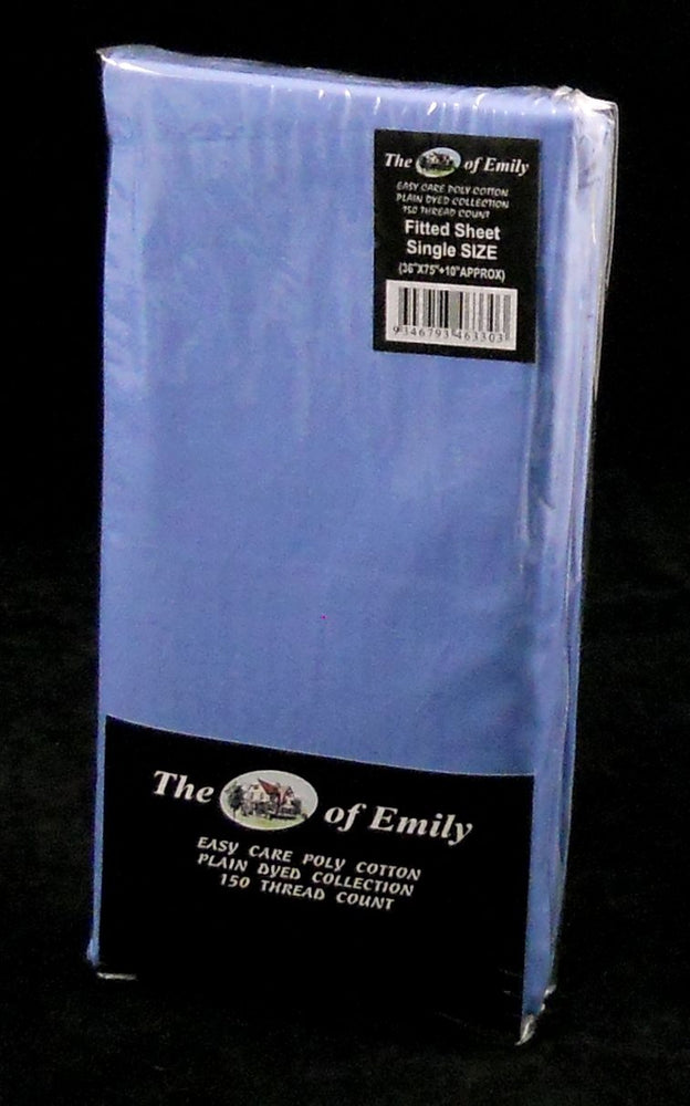 "Mid Blue Single Fitted Sheet 10"" Depth Poly Cotton"