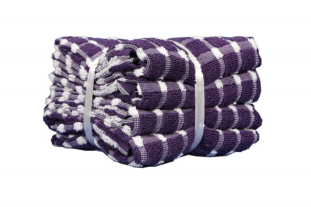 Extra Large Kitchen Terry Tea Towels 100% Cotton Pack of 4 Ribbon Packed Purple
