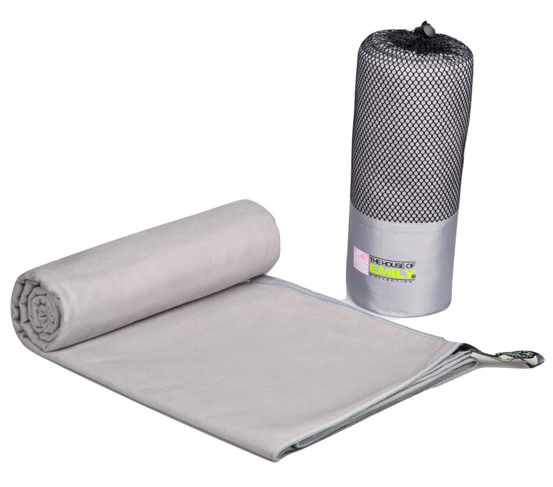 Microfibre Beach Towel Extra Large 150cm x 200cm Quick Dry With Carry Bag Silver Grey