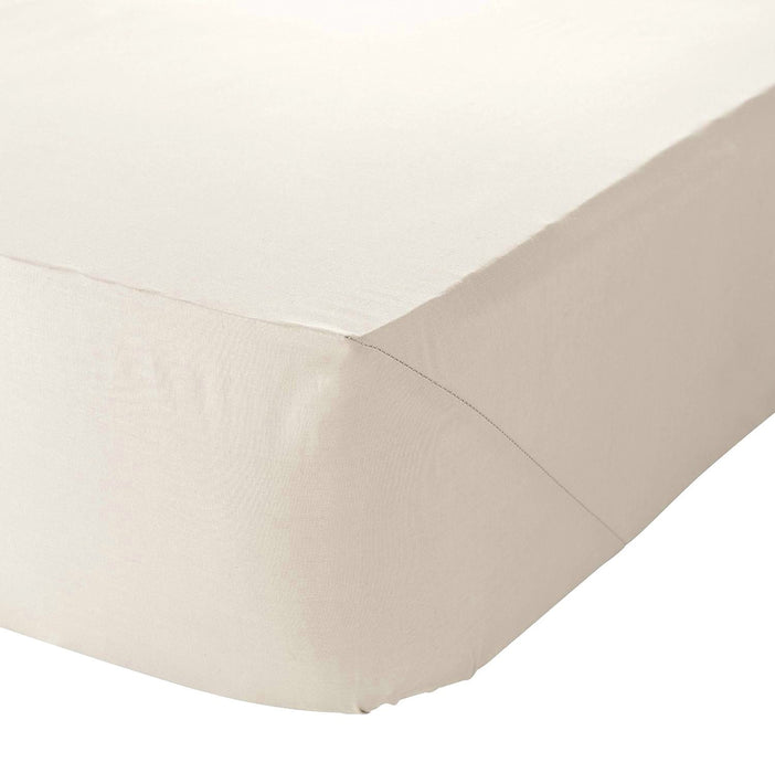 "King Size Fitted Sheet Cream 10"" Deep 180 TC Poly Cotton"