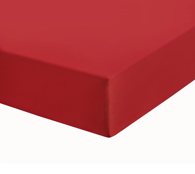 "Chilli Red Kingsize Extra Deep Fitted Sheet 12"" Box 200 TC"