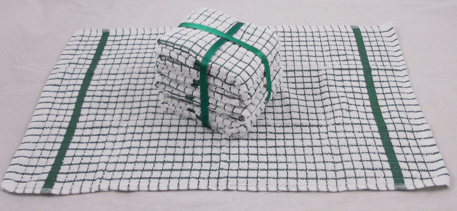 Wholesale Kitchen Tea Towels Green & White 100% Cotton 120 PCS