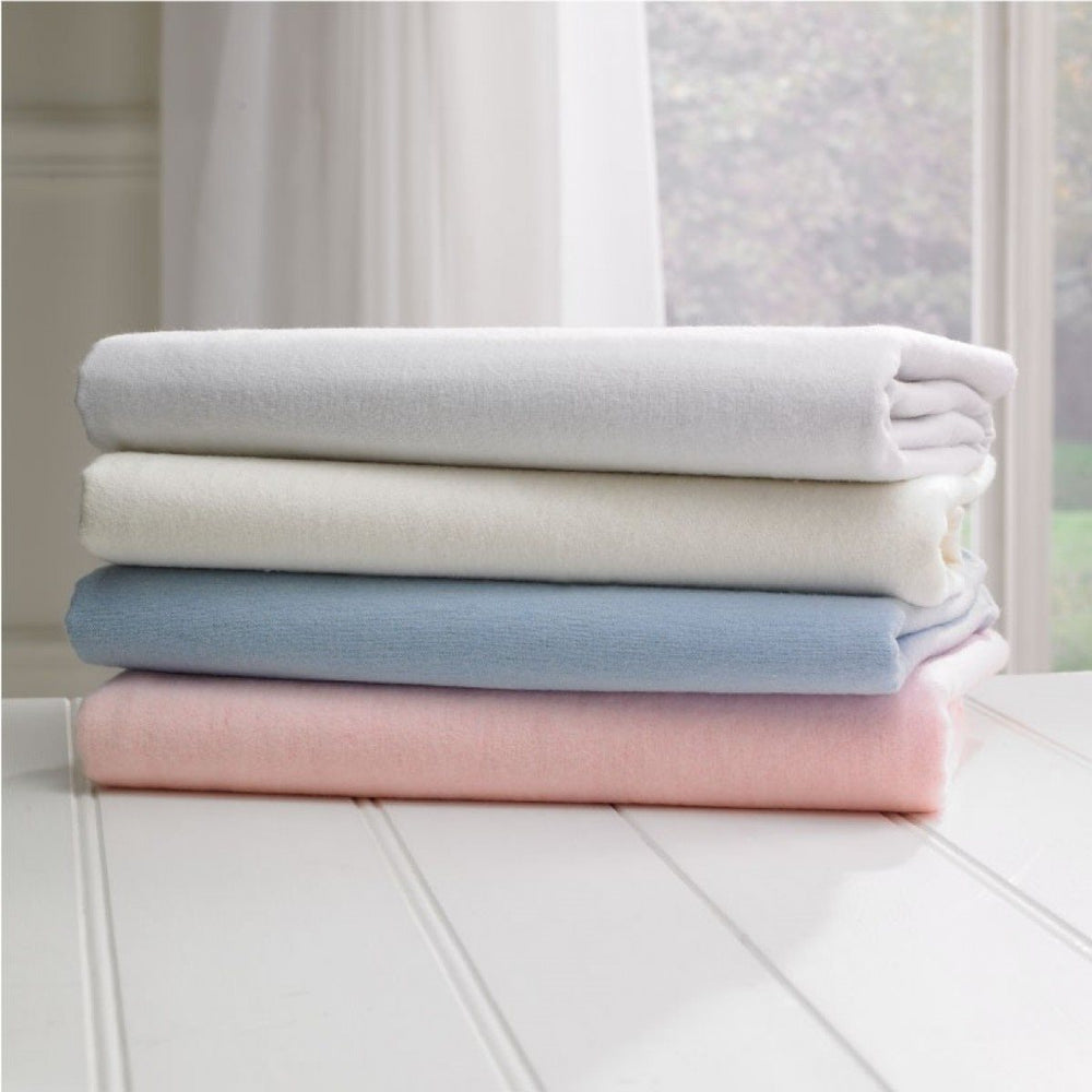 Brushed Cotton Single Fitted Sheet Blue 10 Inch Depth