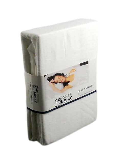 "Double 100% Cotton Flannelette 12"" Deep Fitted Sheet - White"