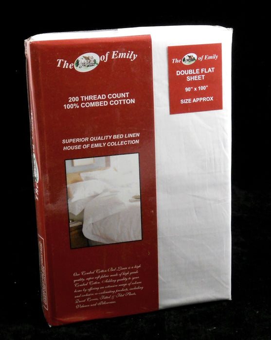 White Double Flat Sheet 100% Cotton 200 Thread Count