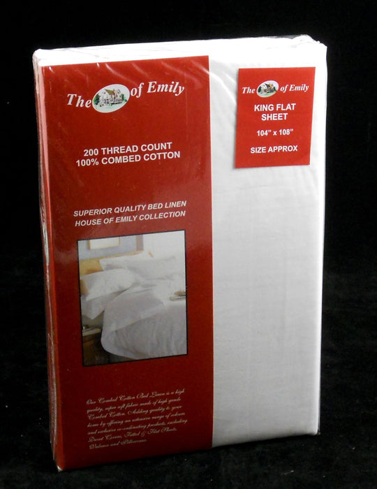 100% Cotton Flat Top Sheet King Size White 200 TC