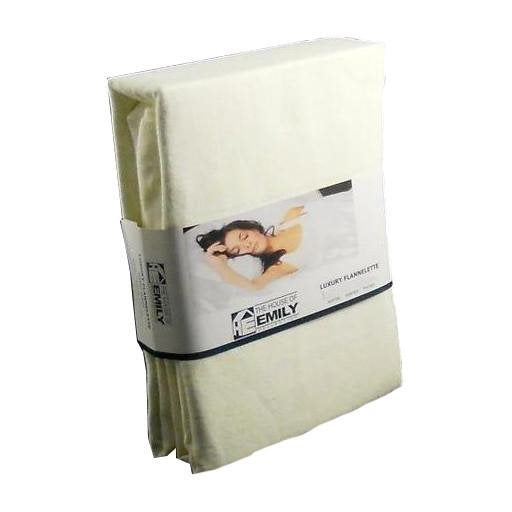 "Flannelette Fitted Sheet Extra Deep 18"" Kingsize Cream Fully Elasticated"